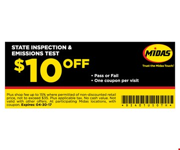 $10 Off State Inspection and Emissions Test