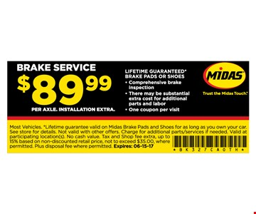 Brake Service $89.99