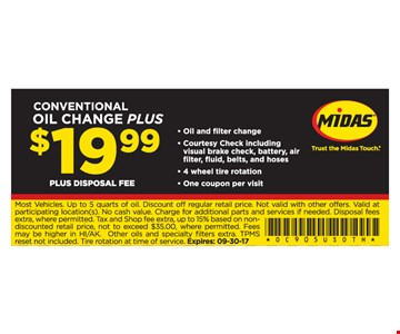 Conventional Oil Change Plus $19.99