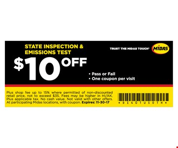 $10 Off STATE INSPECTION & EMISSIONS TEST
