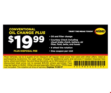 Oil change for $19.99