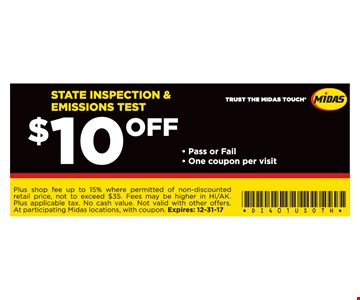 $10 off inspection and emissions test.