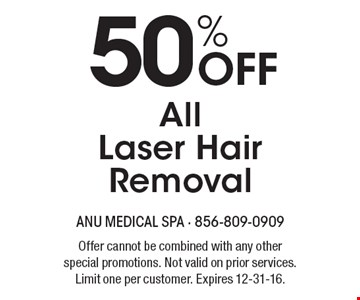 50% Off All Laser Hair Removal. Offer cannot be combined with any other special promotions. Not valid on prior services. Limit one per customer. Expires 12-31-16.