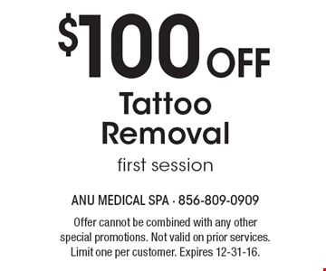 $100 Off Tattoo Removal first session. Offer cannot be combined with any other special promotions. Not valid on prior services. Limit one per customer. Expires 12-31-16.