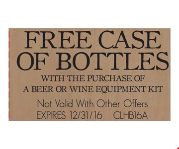 free case of bottles with the purchase of a beer or wine equipment kit