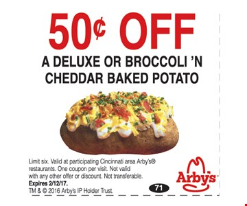 .50 Off A Deluxe or Broccloi 'N Cheddar Baked Potato