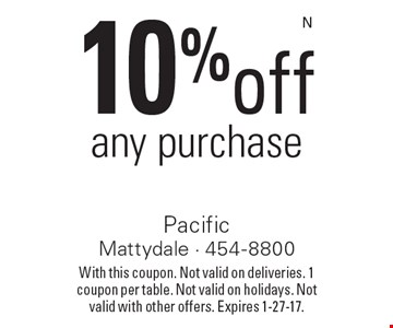 10% off any purchase. With this coupon. Not valid on deliveries. 1 coupon per table. Not valid on holidays. Not valid with other offers. Expires 1-27-17.