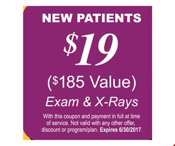 $19 exam & x-ray for New Patients