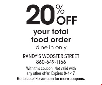 20% off your total food order. Dine in only. With this coupon. Not valid with any other offer. Expires 8-4-17. Go to LocalFlavor.com for more coupons.