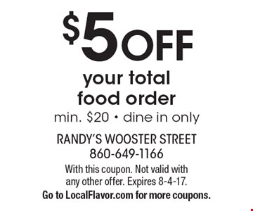 $5 off your total food order. Min. $20. Dine in only. With this coupon. Not valid with any other offer. Expires 8-4-17. Go to LocalFlavor.com for more coupons.