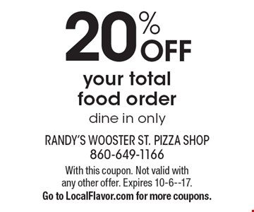 20% off your total food order, dine in only. With this coupon. Not valid with any other offer. Expires 10-6--17.Go to LocalFlavor.com for more coupons.
