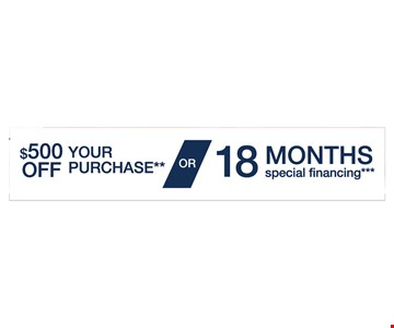 $500 OFF Your Purchase OR 18 Months Special Financing. Offer expires 6/30/17.