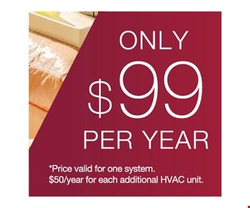$99 per year home maintenance plan