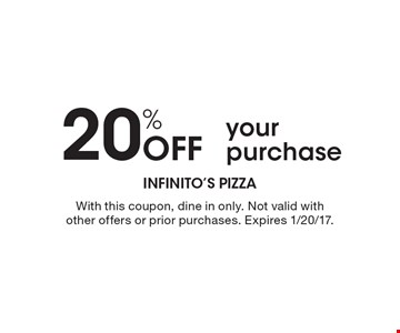 20% Off your purchase. With this coupon, dine in only. Not valid with other offers or prior purchases. Expires 1/20/17.