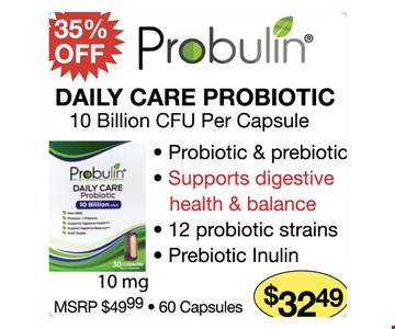 35% off Daily Care Probiotic $32.49