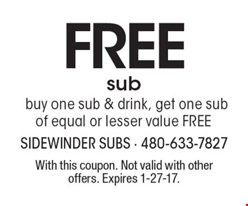 Free sub. Buy one sub & drink, get one sub of equal or lesser value free. With this coupon. Not valid with other offers. Expires 1-27-17.