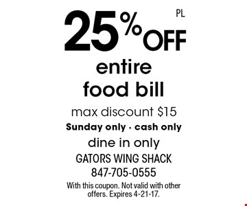 25% off entire food bill max discount $15 Sunday only - cash only dine in only. With this coupon. Not valid with other offers. Expires 4-21-17.