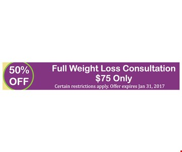 50% Off Full Weight Loss Consultation