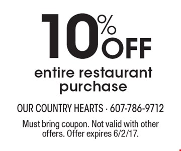 10% Off entire restaurant purchase. Must bring coupon. Not valid with other offers. Offer expires 6/2/17.
