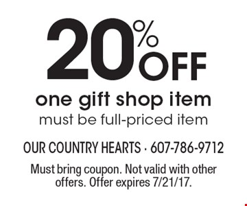 20% Off one gift shop item, must be full-priced item. Must bring coupon. Not valid with other offers. Offer expires 7/21/17.