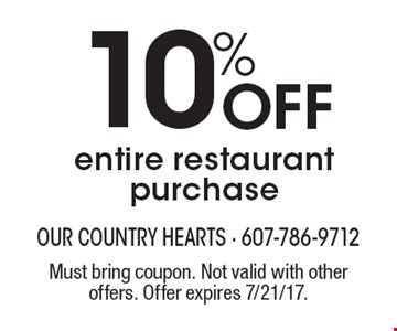 10% Off entire restaurant purchase. Must bring coupon. Not valid with other offers. Offer expires 7/21/17.