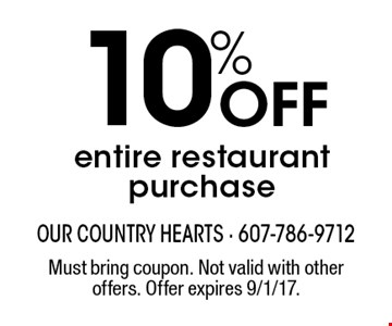 10% Off entire restaurant purchase. Must bring coupon. Not valid with other offers. Offer expires 9/1/17.