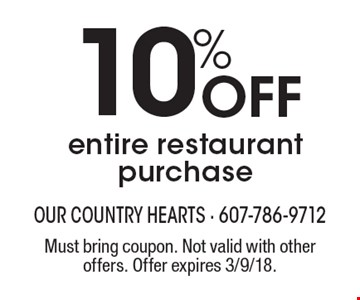 10% Off entire restaurant purchase. Must bring coupon. Not valid with other offers. Offer expires 3/9/18.