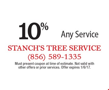 10% off any service. Must present coupon at time of estimate. Not valid with other offers or prior services. Offer expires 1/6/17.