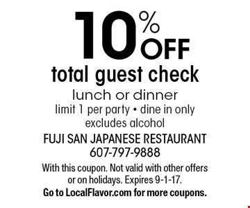 10% OFF total guest check lunch or dinner. limit 1 per party - dine in only. excludes alcohol. With this coupon. Not valid with other offers or on holidays. Expires 9-1-17. Go to LocalFlavor.com for more coupons.