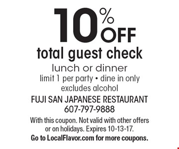 10% OFF total guest check lunch or dinnerlimit 1 per party - dine in onlyexcludes alcohol. With this coupon. Not valid with other offers or on holidays. Expires 10-13-17.Go to LocalFlavor.com for more coupons.