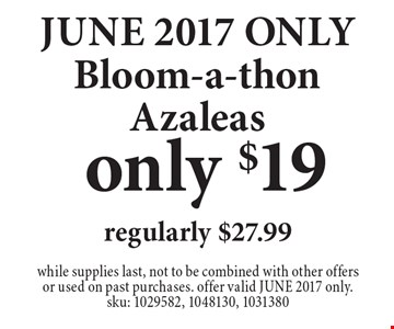 JUNE 2017 ONLY! Only $19! Bloom-a-thon Azaleas, regularly $27.99. while supplies last, not to be combined with other offers or used on past purchases. offer valid JUNE 2017 only. sku: 1029582, 1048130, 1031380