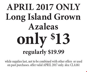 APRIL 2017 ONLY only $13 Long Island Grown Azaleasregularly $19.99. while supplies last, not to be combined with other offersor used on past purchases. offer valid APRIL 2017 only. sku: CLA161