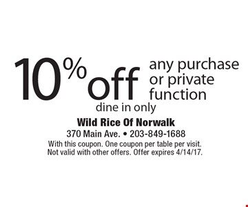 10% off any purchase or private function dine in only. With this coupon. One coupon per table per visit. Not valid with other offers. Offer expires 4/14/17.