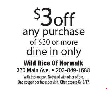 $3 off any purchase of $30 or more dine in only. With this coupon. Not valid with other offers. One coupon per table per visit. Offer expires 6/16/17.