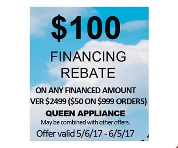 $100 Financing Rebate