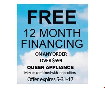 Free 12 month Financing