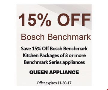 15% off Bosch Benchmark kitchen packages.