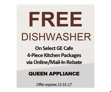 Free dishwasher with select GE Cafe kitchen packages.