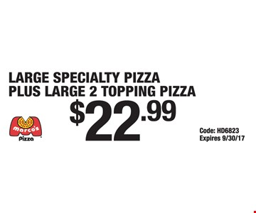 2 large pizzas for $22.99.
