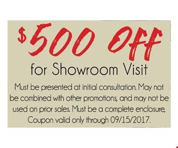 $500 Off for showroom visit