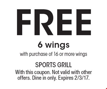 Free 6 wings with purchase of 16 or more wings. With this coupon. Not valid with other offers. Dine in only. Expires 2/3/17.