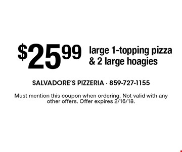 $25.99 large 1-topping pizza & 2 large hoagies. Must mention this coupon when ordering. Not valid with any other offers. Offer expires 2/16/18.