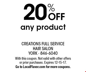 20% off any product. With this coupon. Not valid with other offers or prior purchases. Expires 12-15-17. Go to LocalFlavor.com for more coupons.