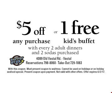 $5 off any purchase with every 2 adult dinners and 2 sodas purchased. 1 free kid's buffet with every 2 adult dinners and 2 sodas purchased. With this coupon. Must present coupon to waitress. Cannot be used on holidays or on holiday seafood special. Present coupon upon payment. Not valid with other offers. Offer expires 6/2/17.