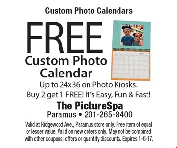 Custom Photo Calendars. Free Custom Photo Calendar. Up to 24x36 on Photo Kiosks. Buy 2 get 1 FREE! It's Easy, Fun & Fast! Valid at Ridgewood Ave., Paramus store only. Free item of equal or lesser value. Valid on new orders only. May not be combined with other coupons, offers or quantity discounts. Expires 1-6-17.