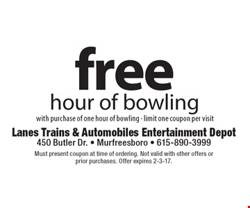 Free hour of bowling with purchase of one hour of bowling - limit one coupon per visit. Must present coupon at time of ordering. Not valid with other offers or prior purchases. Offer expires 2-3-17.