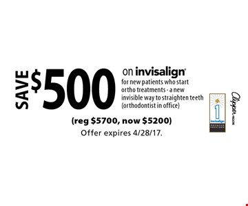 save $500 on invisalign for new patients who start ortho treatments - a new invisible way to straighten teeth (orthodontist in office)(reg $5700, now $5200). Offer expires 4/28/17.