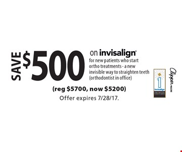 save $500 on invisalign for new patients who start ortho treatments - a new invisible way to straighten teeth (orthodontist in office)(reg $5700, now $5200). Offer expires 7/28/17.