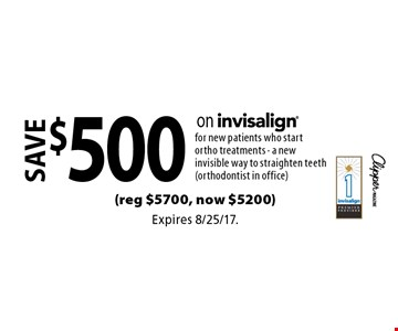 Save $500 on Invisalign® for new patients who start ortho treatments - a new invisible way to straighten teeth (orthodontist in office) (reg $5700, now $5200). Expires 8/25/17.