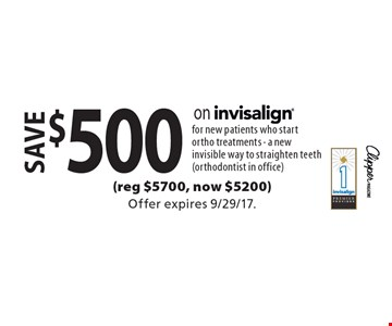 Save $500 on invisalign for new patients who start ortho treatments. A new invisible way to straighten teeth (orthodontist in office)(reg $5700, now $5200). Offer expires 9/29/17.